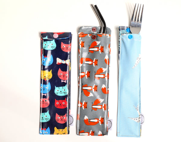 Reusable Snap Snack/Straw Pouch