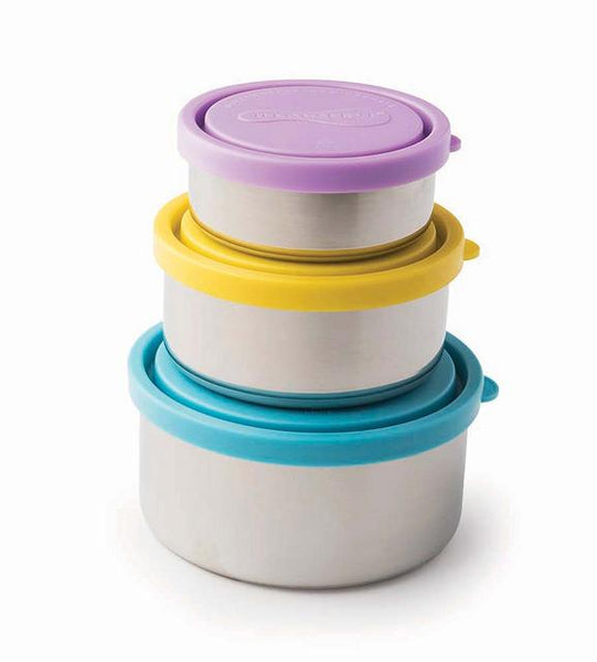Nested Set of 3 Round Stainless Steel Containers