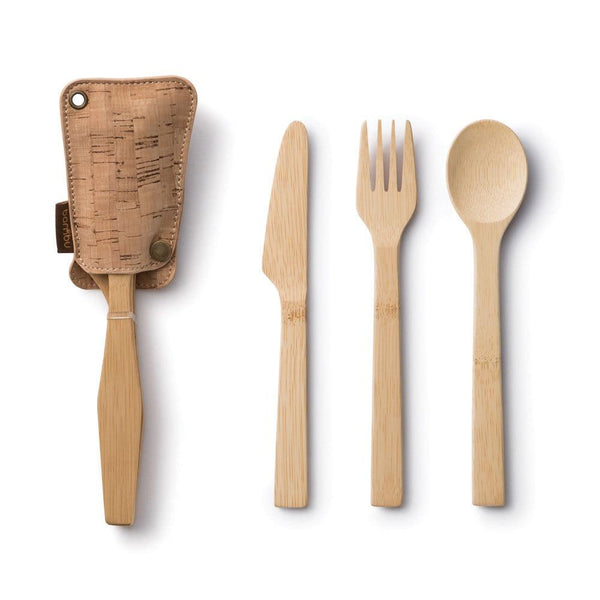 Bamboo + Cork Travel Utensil Set