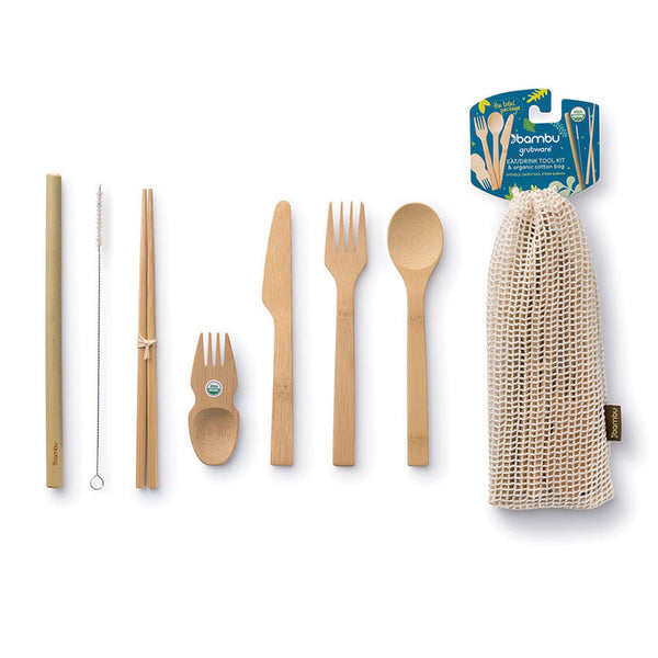 8-Piece Eat + Drink Bamboo Tool Kit