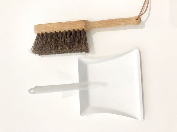 Mini Metal Dustpan with Natural Brush