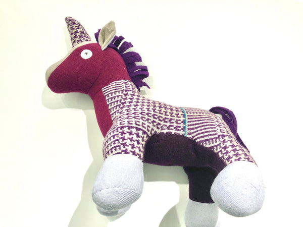 Upcycled Wool Stuffed Unicorn