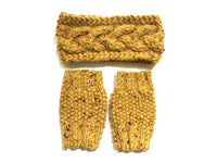 Cable Knit Headband + Fingerless Mitts