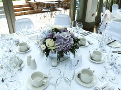 Avalanche Roses, Lilac Lisianthus and Hydrangea Table Arrangement