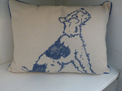 Plum & Ashby Terrier Cushion (Blue)