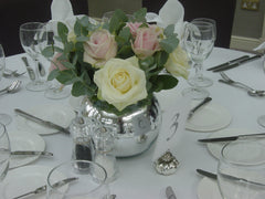 Mirrored Goldfish Bowl with white and pink Roses
