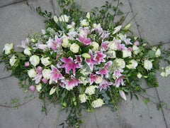 5ft Pink Lily & White Rose Coffin Spray