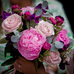 Peonies Roses and Sweet Pea Hand Tied
