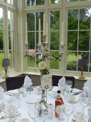 Dressed Candelabra with Wild Ivy and Roses