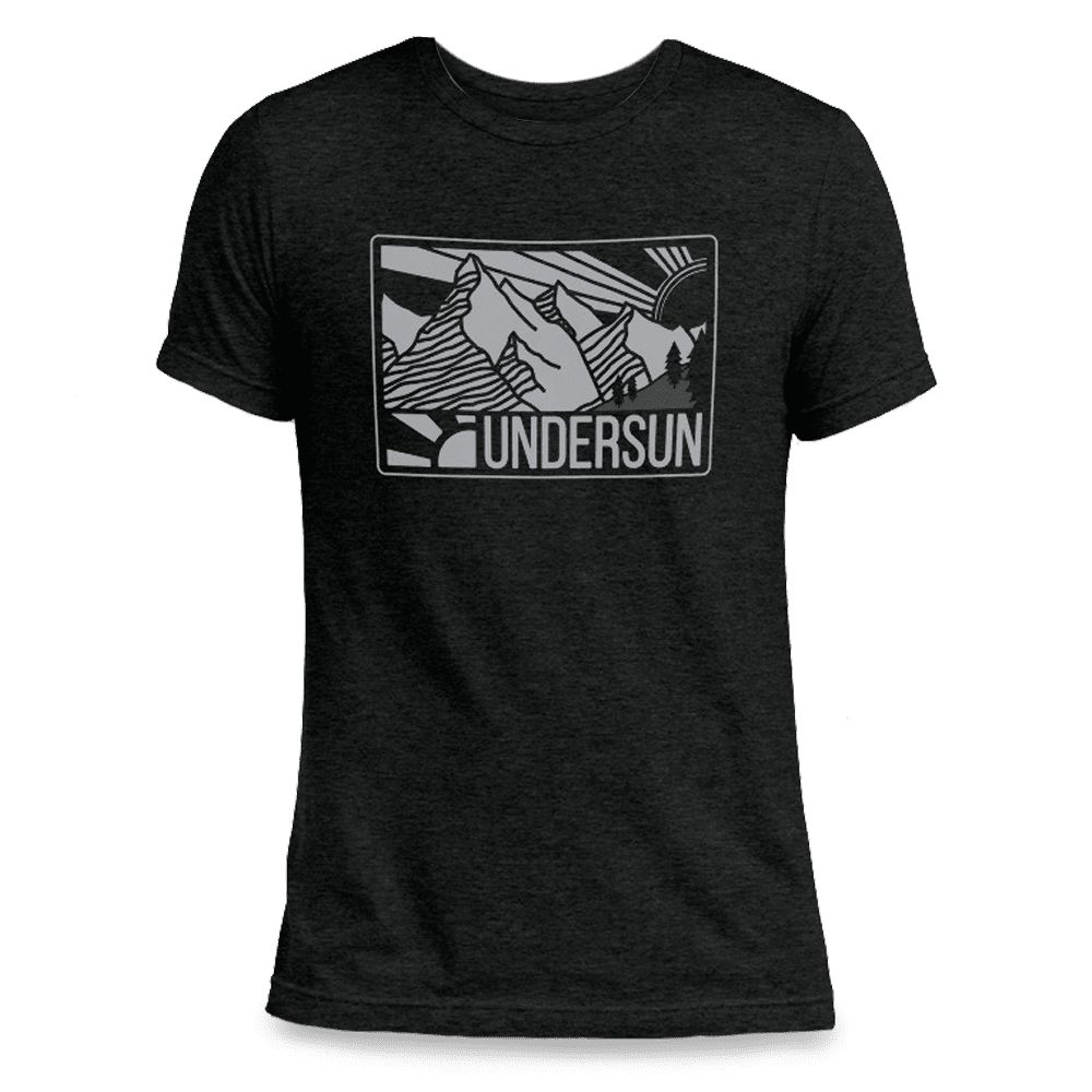 Undersun Unisex Tri-Blend T-Shirt Black - Mountain Sun - XS / Black / Unisex - Undersun Fitness