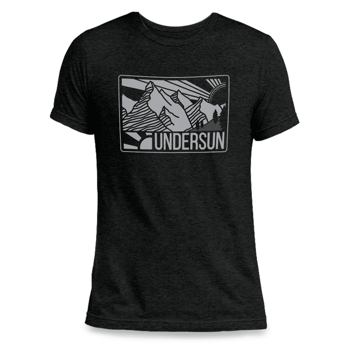 Undersun Unisex Tri-Blend T-Shirt Black - Mountain Sun - Undersun Fitness