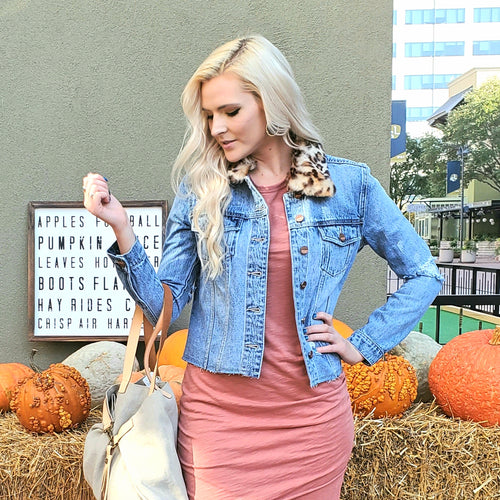 LEOPARD COLLAR DENIM JACKET