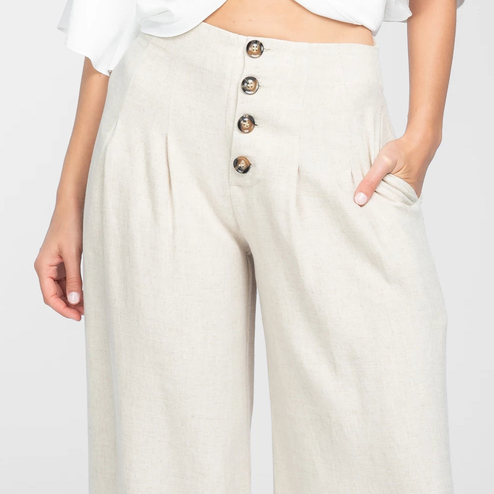 FRONT BUTTON WIDE LEG PANTS