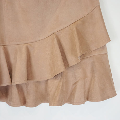 BLUSH SUEDE RUFFLE SKIRT