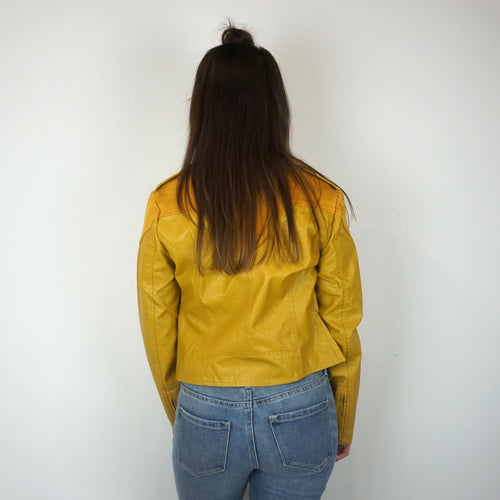 MUSTARD FAUX LEATHER JACKET