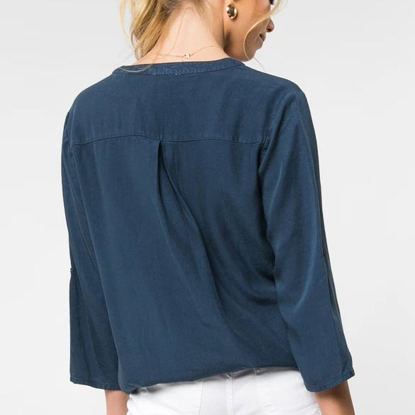 TWIST FRONT BUTTON BLOUSE