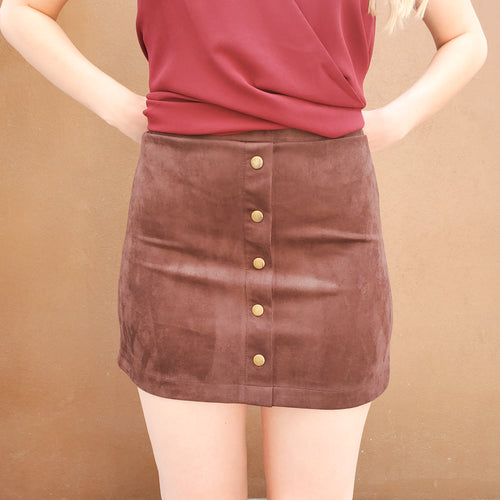 FALL DREAMS BUTTON FRONT SKIRT