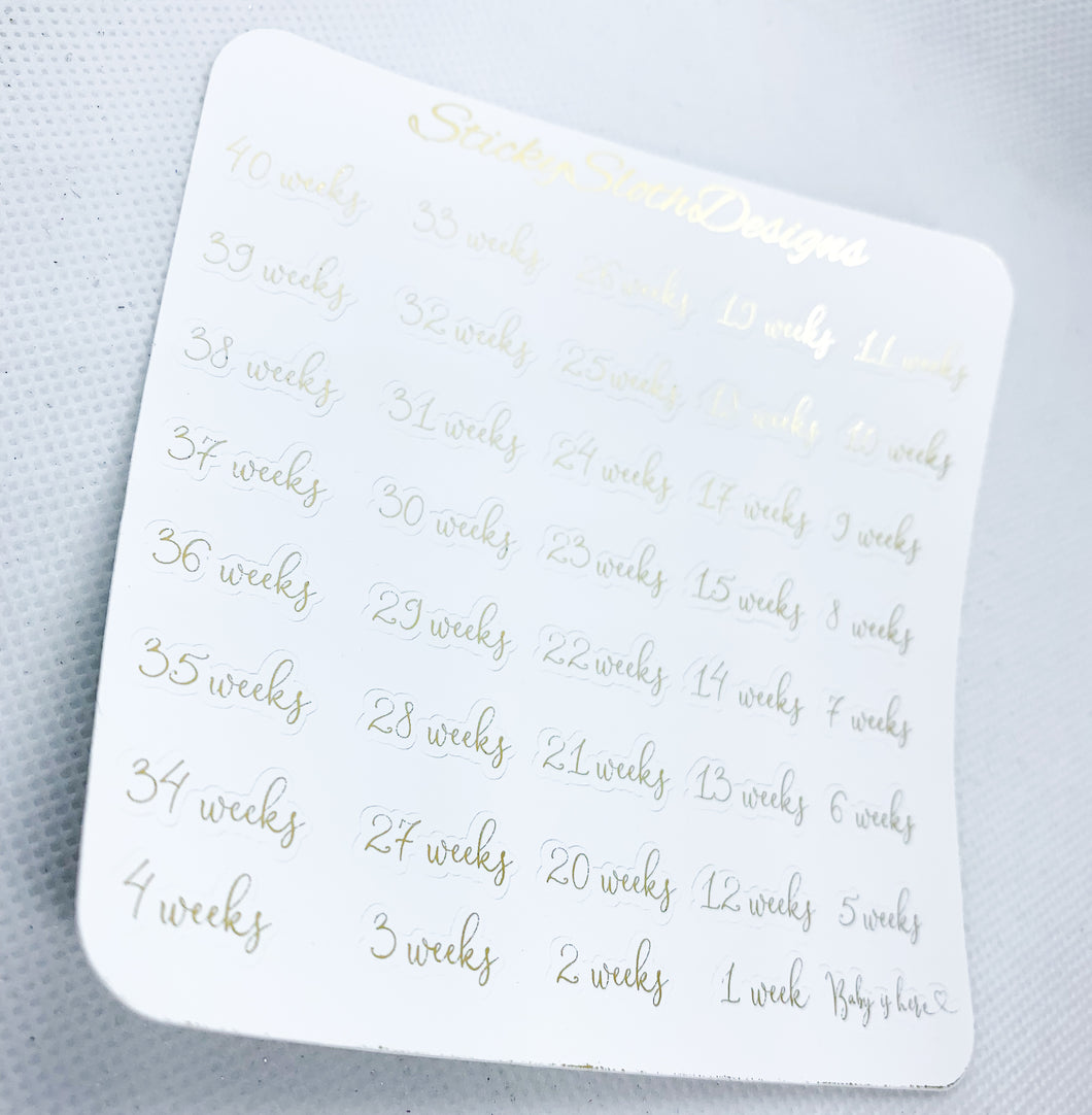 Pregnancy Week Script Foiled Planner Stickers