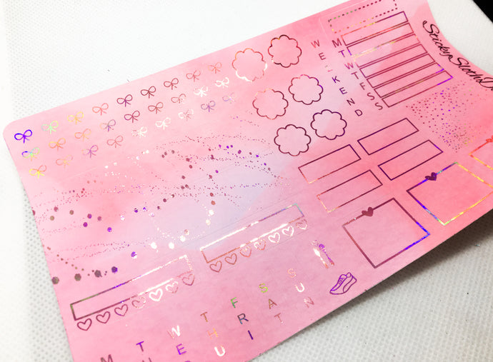 Pink Watercolor Foiled Hobonichi Weeks Kit
