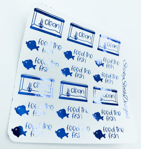 Fish Care Foiled Planner Stickers