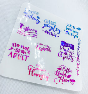 Snarky Quotes Foiled Overlay Stickers