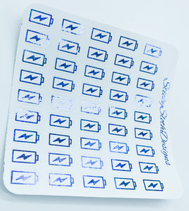 Charging Battery Foiled Planner Stickers
