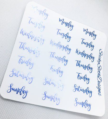 Days of the Week Foiled Planner Stickers