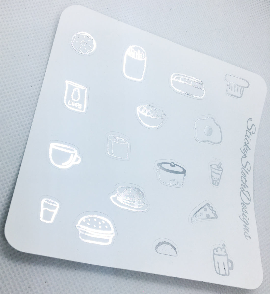 Food Icon Sampler Foiled Planner Stickers