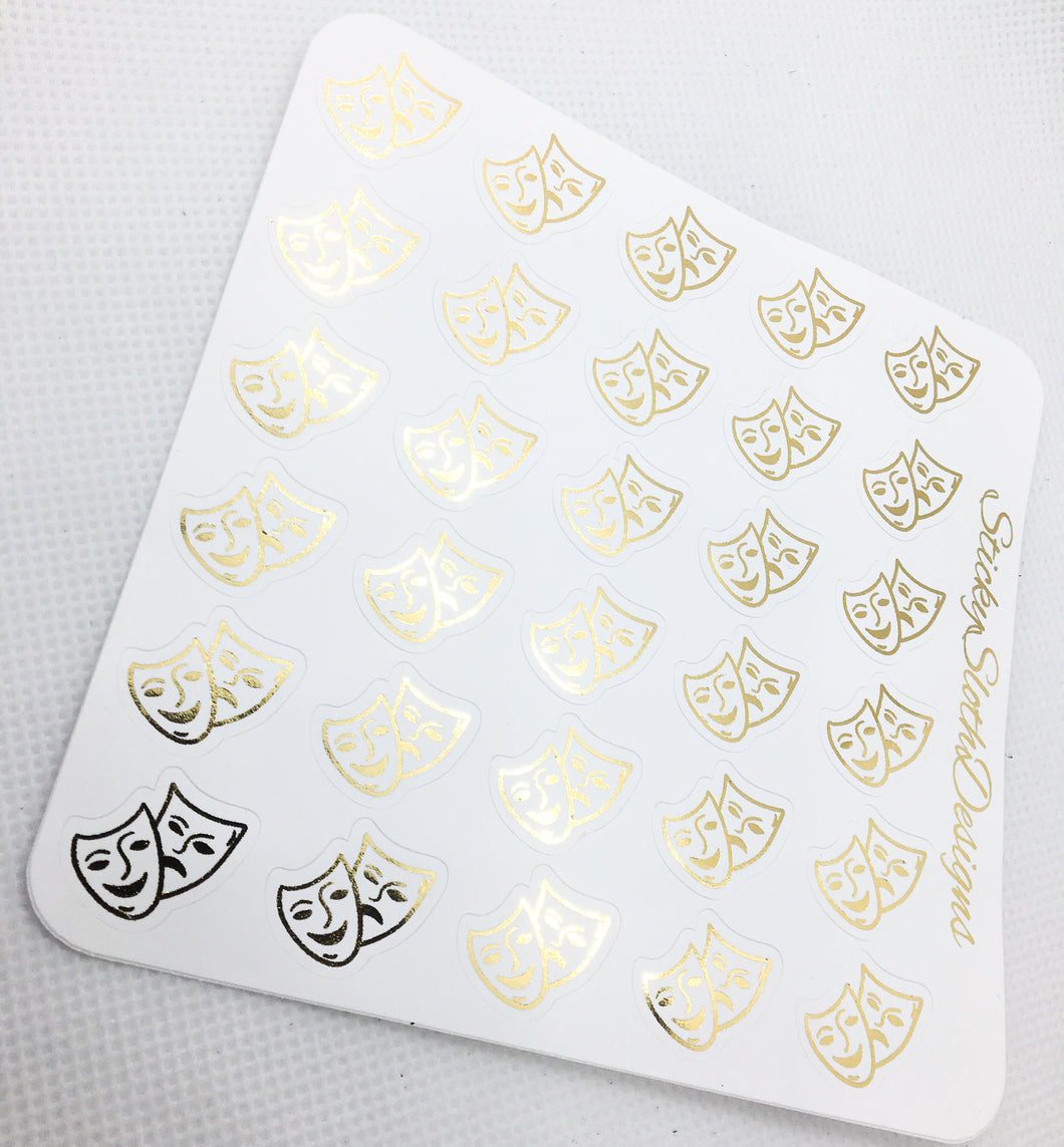 Theatre Mask Foiled Planner Stickers