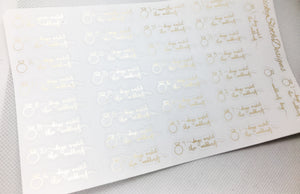 Wedding Countdown Foiled Planner Stickers