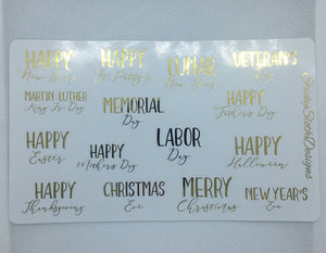 Foiled Holiday Planner Stickers