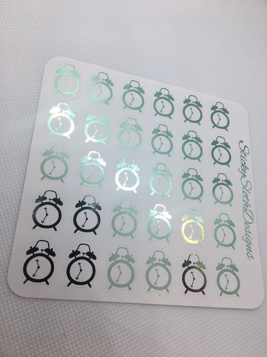 Foiled Alarm Clock Planner Stickers