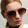Metal diamond polygon UV protection sunglasses