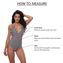 Load image into Gallery viewer, sunflower Lace Trim Deep V-neck One-Piece Padded Swimsuit