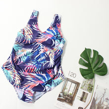 Load image into Gallery viewer, Tropical Print High Waist  Bikini Large Size Beach Swimsuit