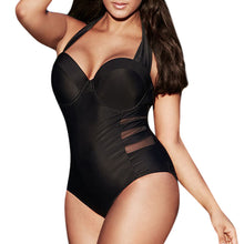 Load image into Gallery viewer, Black Plus Size Push-up Padded One Piece Swimsuit  L-4XL
