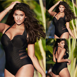 Black Plus Size Push-up Padded One Piece Swimsuit  L-4XL