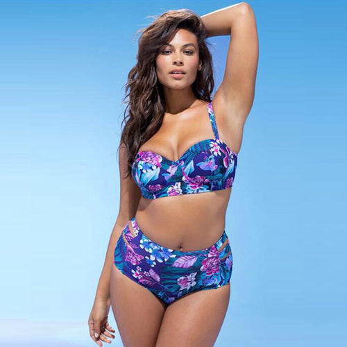 Plus Size Backless Print Padded Swimwear Push Up Fashion Bikini Swimsuit