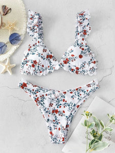 Flower Printed High Cut V Neck  Frilled Swimsuit low waist  Bikini set