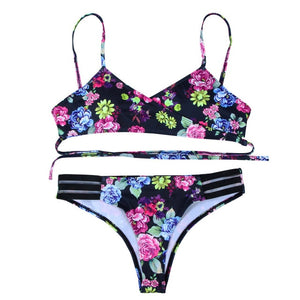 Leaf print Push-Up Padded Patchwork Bikini Set V-neck Swimsuit