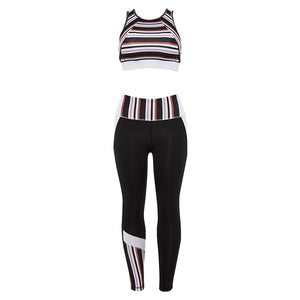 Striped Female Sport Suit Women Fitness Clothing Sport Wear Yoga Set Gym Jogging Suits Sportswear Running Leggings Women Set