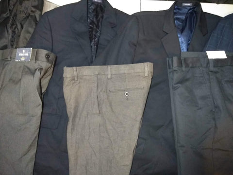 #291 MEN'S REGULAR/BIG & TALL SUIT COATS & PANTS - $1502 MSRP, 10 UNITS, SHELF PULLS