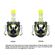 AQUAROBOTMAN 180° Full Face Snorkel Mask for Adult Kids Anti-Fog Anti-Leak Dry Top Set
