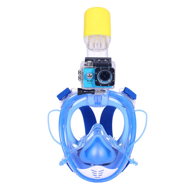 Blue Full Face Snorkel Mask with Detachable Camera Mount Seaview180° Anti Fog Anti Leak