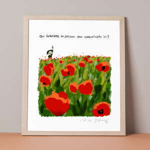 "<font color=""red"">NEW </font><br> ESTHER'S NOTEBOOK <br> ""The Poppies LARGE FORMAT""  <br> <font color=""red""> Exclusive print signed <br> by Riad Sattouf </font>"
