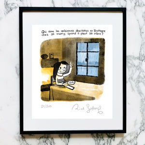 "ESTHER'S NOTEBOOK <br> ""Esther and so cozy Brittany"" <br> <font color=""red""> Exclusive print signed <br> by Riad Sattouf </font>"