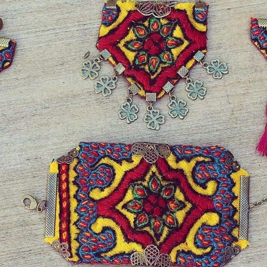 Set of Boho Hand made Patteh Necklace and Bracelet/ Cuff - Treasures of Silk Road