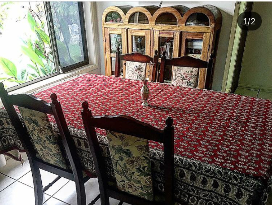 Red and paisley Large Ghalamkari handmade Table Cloth - Treasures of Silk Road