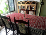 Red and paisley Large handmade Table Cloth - Treasures of Silk Road