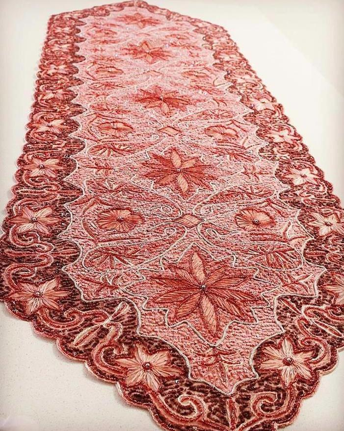 Pink Fully hand sewn beaded Bohemian Golabetoon table Runner / Table cloth - Treasures of Silk Road